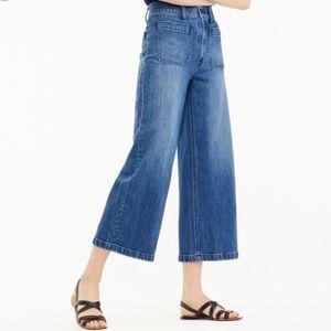 Point Sur Wide-Leg Crop Blue Jeans Sz 28